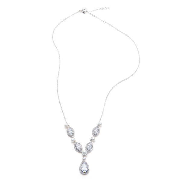 PEARL AND CZ FRONTAL Y NECKLACE