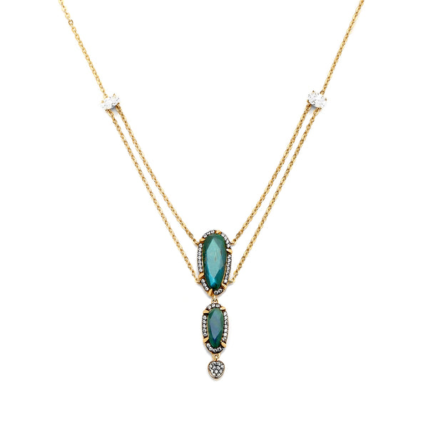 JASMINE LABRADORITE AND CZ LAYERED NECKLACE