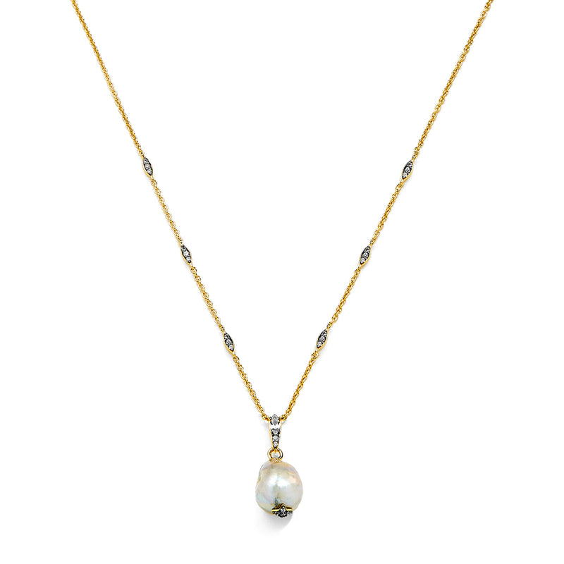 MARI GREY BAROQUE FRESHWATER PEARL FRONTAL NECKLACE