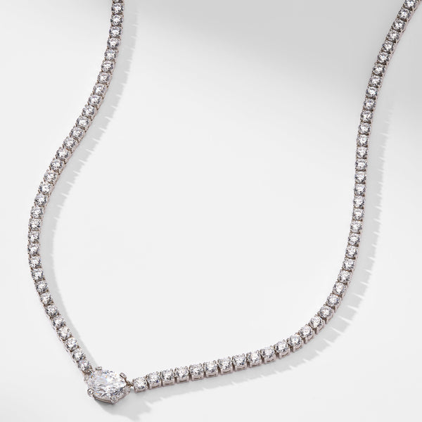 OVAL CZ ACCENT TENNIS NECKLACE