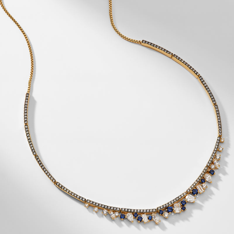 ENCORE SAPPHIRE CRYSTAL FRONTAL NECKLACE