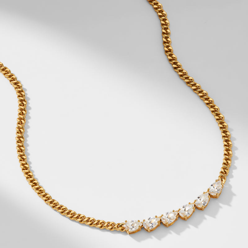 LUX CHAIN 6 PEAR STONE CZ COLLAR NECKLACE