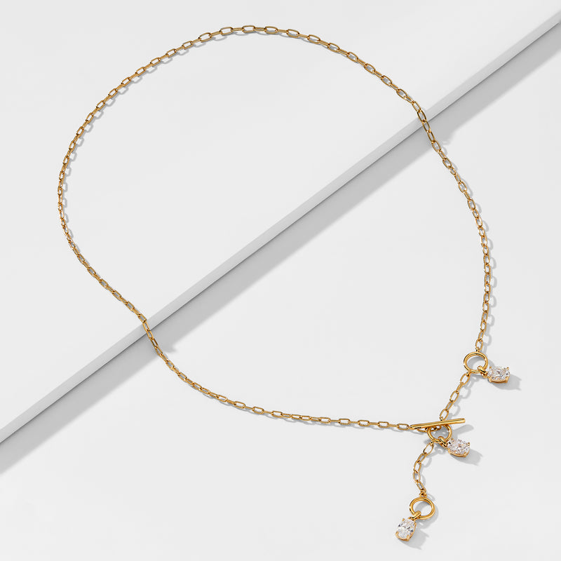 LUX CZ LARIAT TOGGLE NECKLACE