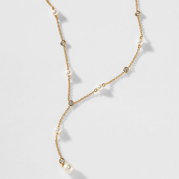 EMILIA PEARL AND CZ DROP Y NECKLACE