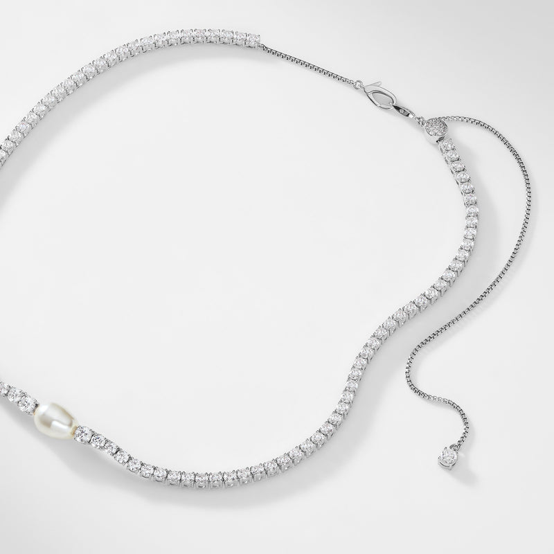 BOHEME PEARL AND CZ ADJUSTABLE CHOKER NECKLACE