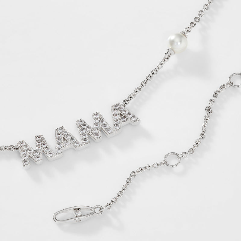 PEARL AND PAVE CZ MAMA NECKLACE