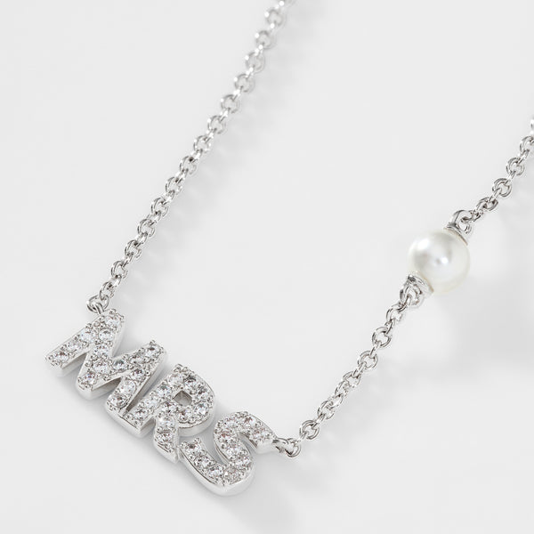 PEARL AND PAVE CZ MRS NECKLACE