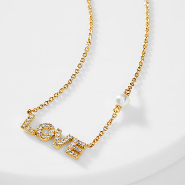 PEARL AND PAVE CZ LOVE NECKLACE