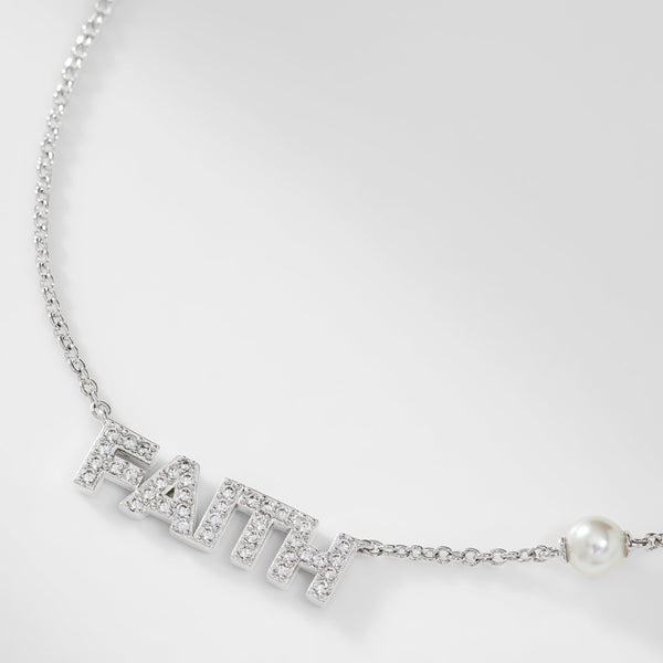 PEARL AND PAVE CZ FAITH NECKLACE