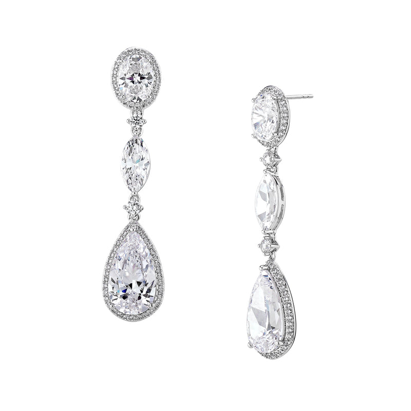 CZ PEAR AND OVAL DROP EARRINGS