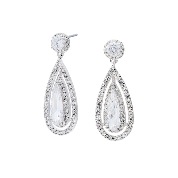 PAVE CZ TEARDROP EARRINGS