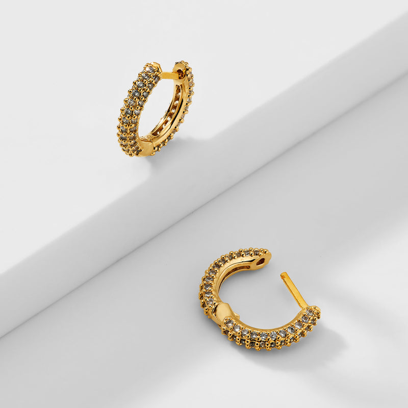SMALL PAVE HUGGIE HOOP EARRINGS