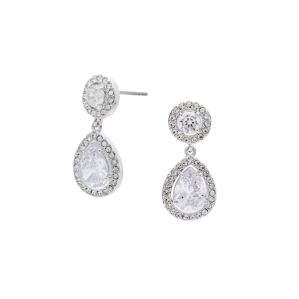 CZ FRAMED PEAR DROP EARRINGS