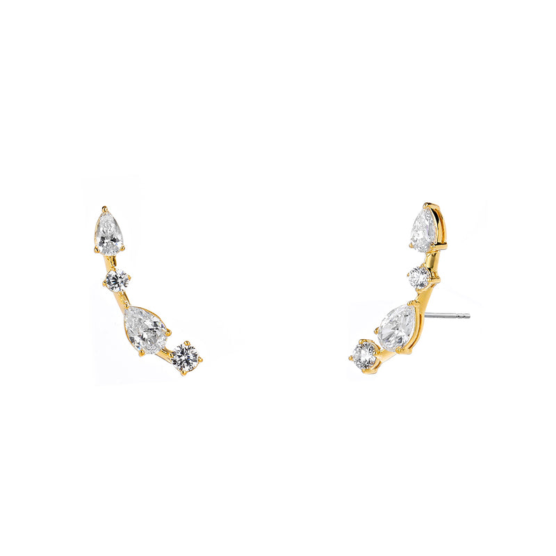 EAST WEST CZ STUD EARRINGS