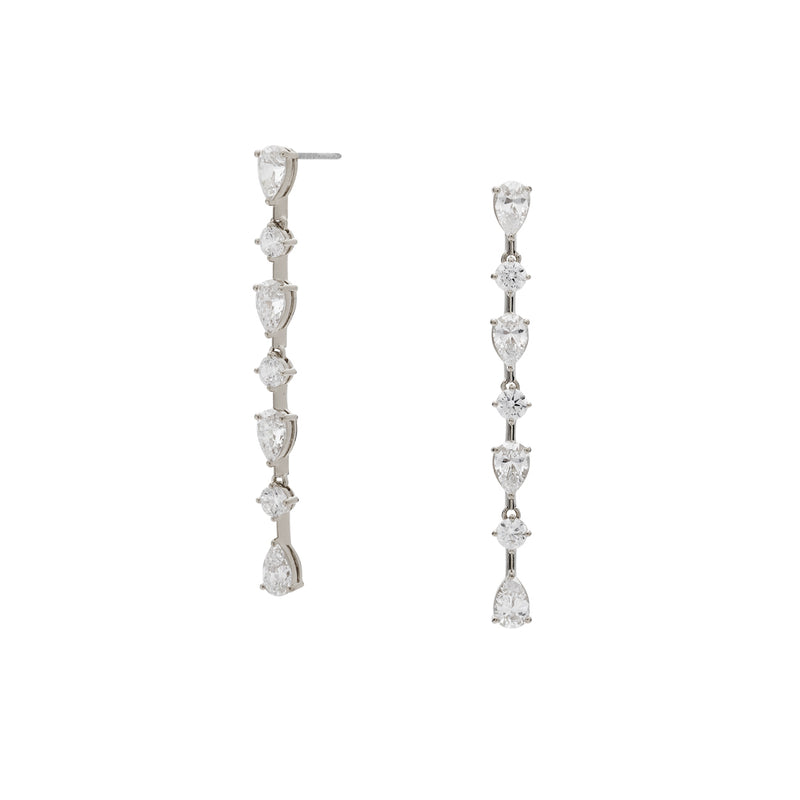 CZ LINEAR DROP EARRINGS