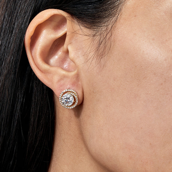 CZ BUTTON EARRINGS