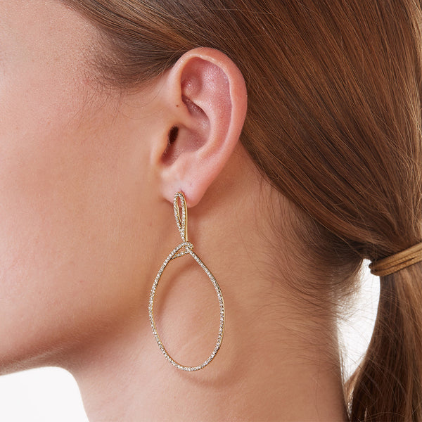 LUPITA PAVE CZ AND CRYSTAL DROP HOOP EARRINGS