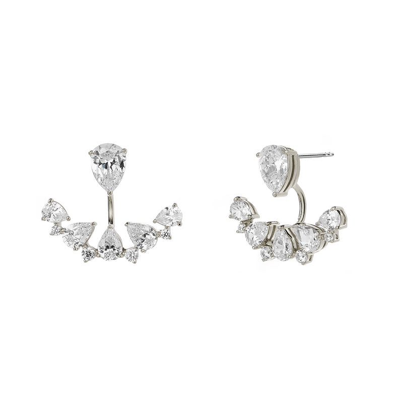TALIA CZ FRONT BACK FAN EARRINGS