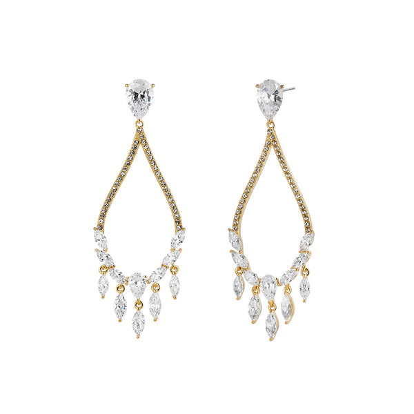 PEAR CZ CHANDELIER EARRINGS
