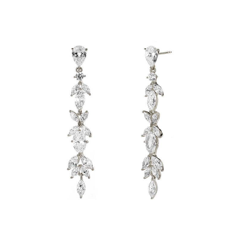 CZ MIXED STONE LINEAR LEVERBACK EARRINGS