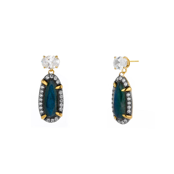 JASMINE LABRADORITE AND CZ SMALL DROP EARRINGS