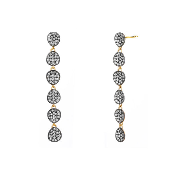 COMO TWO-TONE PAVE CZ LINEAR EARRINGS