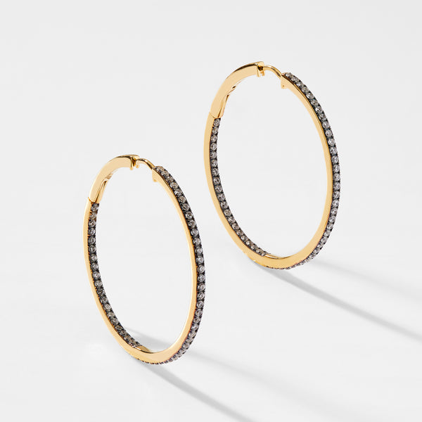 CZ PAVE LARGE HOOP EARRINGS