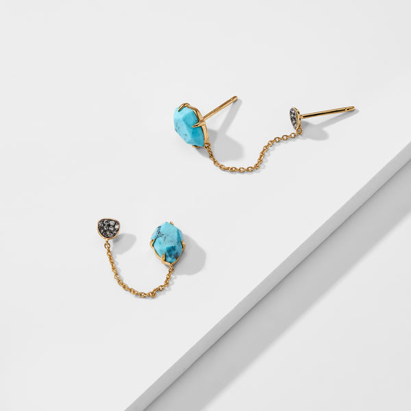 CAPRI TURQUOISE DOUBLE STUD CHAIN EARRINGS