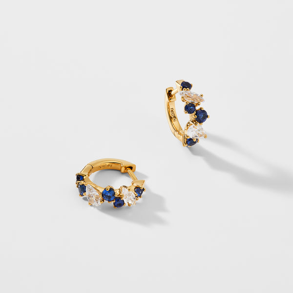 ENCORE MIXED STONE SAPPHIRE CRYSTAL HUGGIE EARRINGS