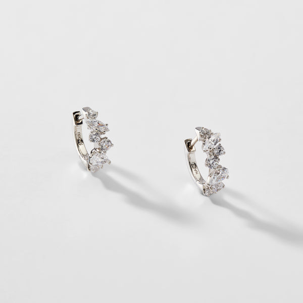 ENCORE MIXED STONE CZ HUGGIE EARRINGS