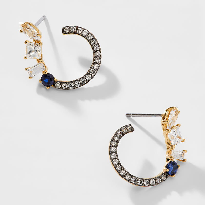 ENCORE SAPPHIRE CRYSTAL FRONT BACK EARRINGS
