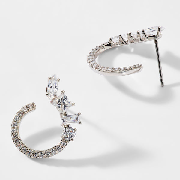 ENCORE PAVE CZ FRONT BACK EARRINGS