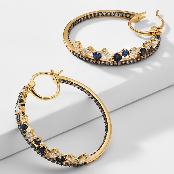 ENCORE SAPPHIRE CRYSTAL INSIDE OUT HOOP EARRINGS