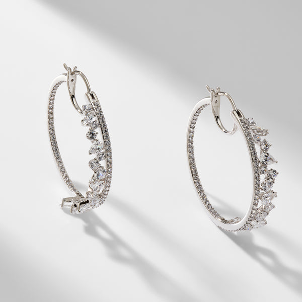 ENCORE INSIDE OUT CZ HOOP EARRINGS