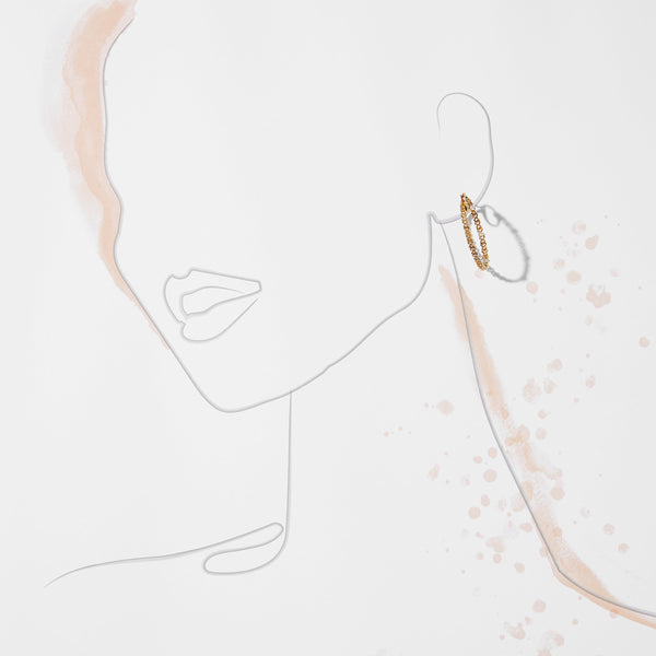 LUX CZ AND LINK CHAIN HOOP EARRINGS