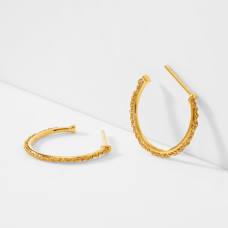 SMALL CHAIN HOOP 14KT GOLD EARRINGS