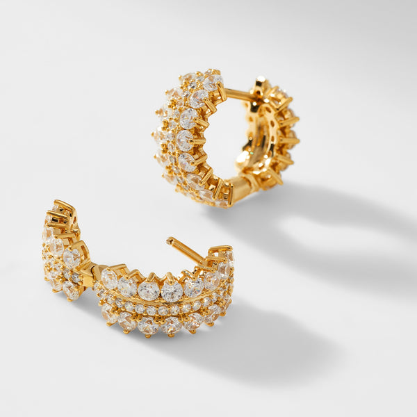 LEAH SMALL PAVE HUGGIE HOOP EARRINGS