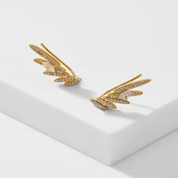 LEAH PAVE WING CLIMBER EARRINGS