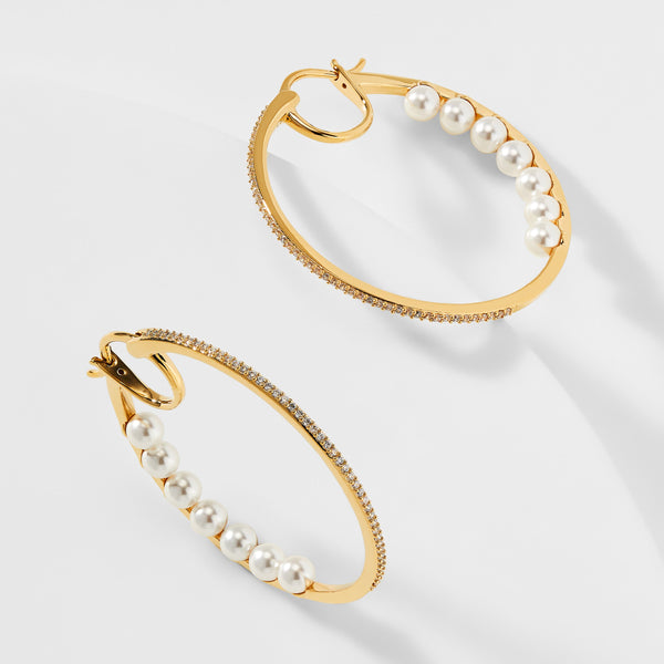 EMILIA PEARL BACK HOOP EARRINGS