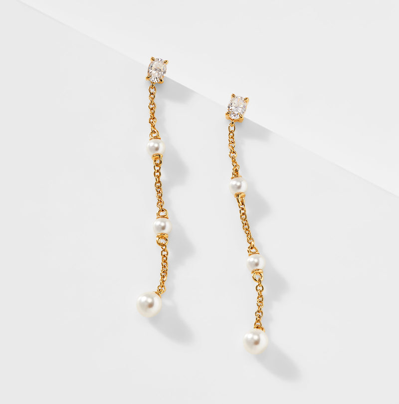 EMILIA PEARL AND CZ CHAIN EARRINGS