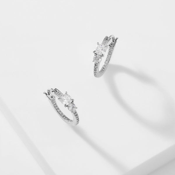 COLETTE CUSHION PAVE HOOP EARRINGS