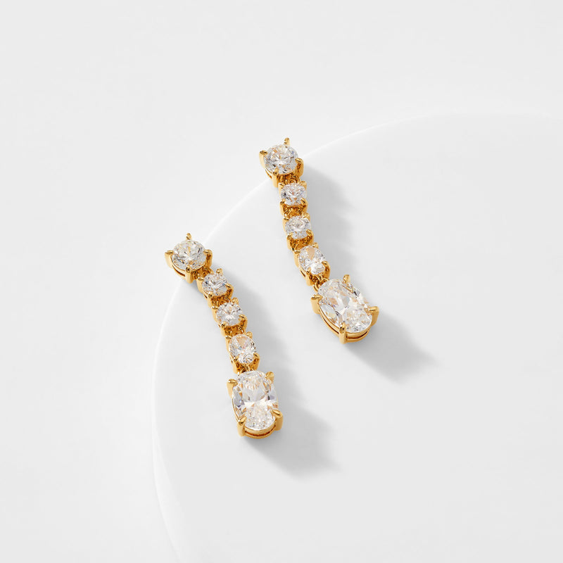COLETTE ROUND AND OVAL CZ LINEAR EARRINGS