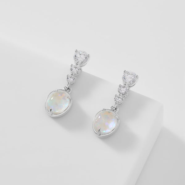 VANESSA OPAL AND CZ DROP EARRINGS