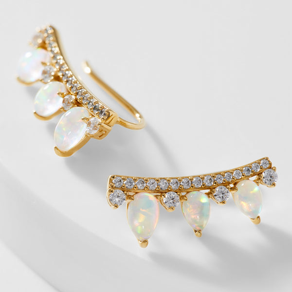VANESSA OPAL AND PAVE CZ CLIMBER EARRINGS