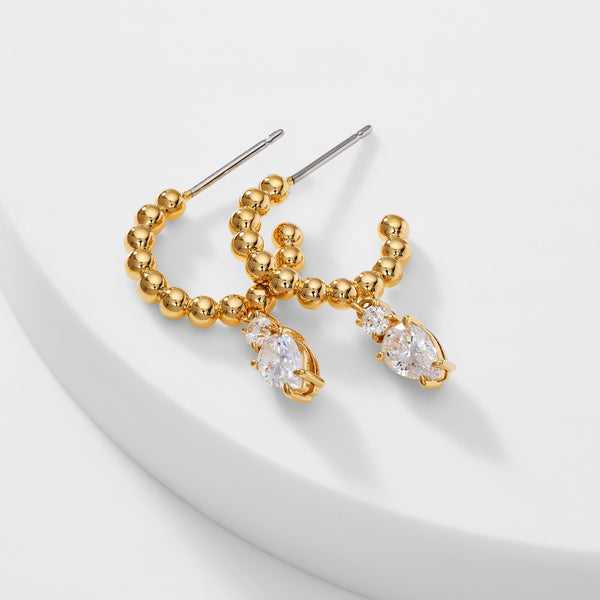 CZ DROP SMALL DOT BEADED HOOP EARRINGS