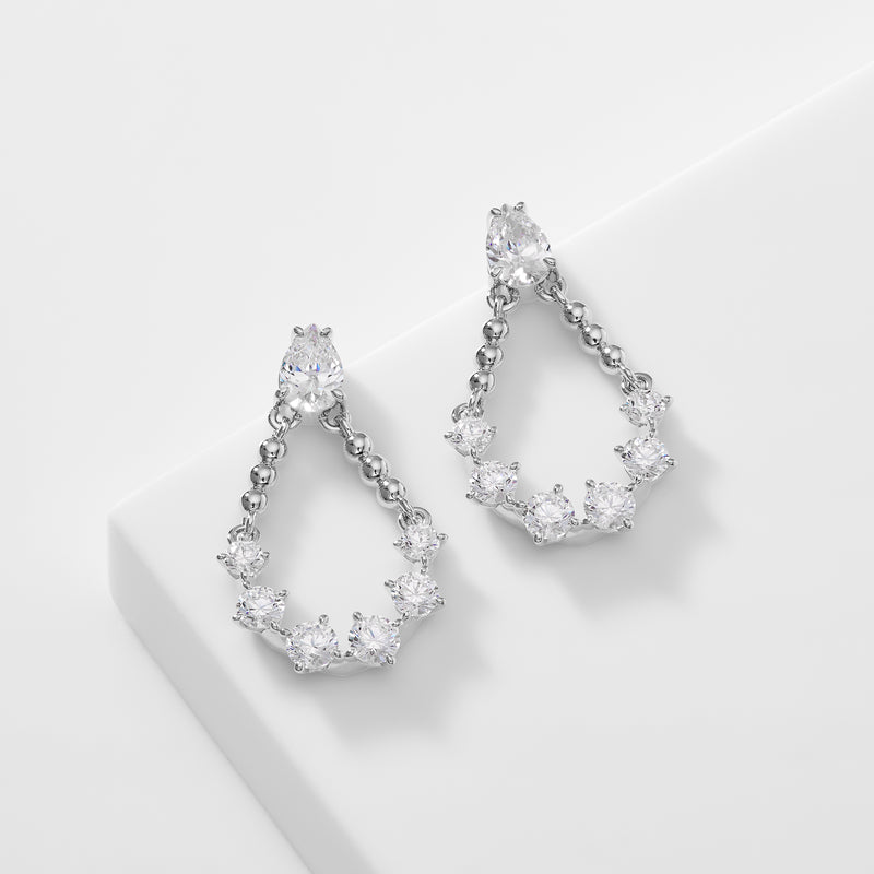 CZ DOT BEADED MINI CHANDELIER EARRINGS