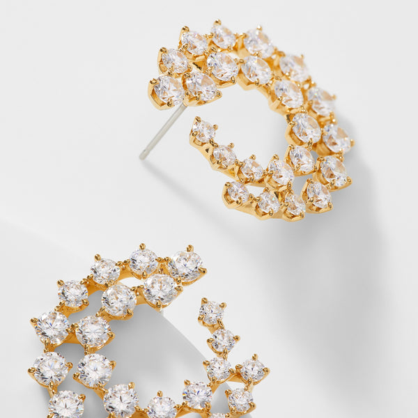 CZ DOUBLE ROW HOOP EARRINGS