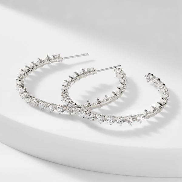 PRIMA CZ LARGE J HOOP EARRINGS