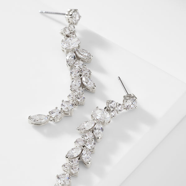 PRIMA CZ LONG LINEAR EARRINGS