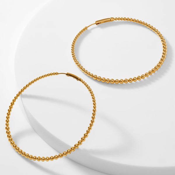 DOT BEADED LARGE HOOP EARRINGS